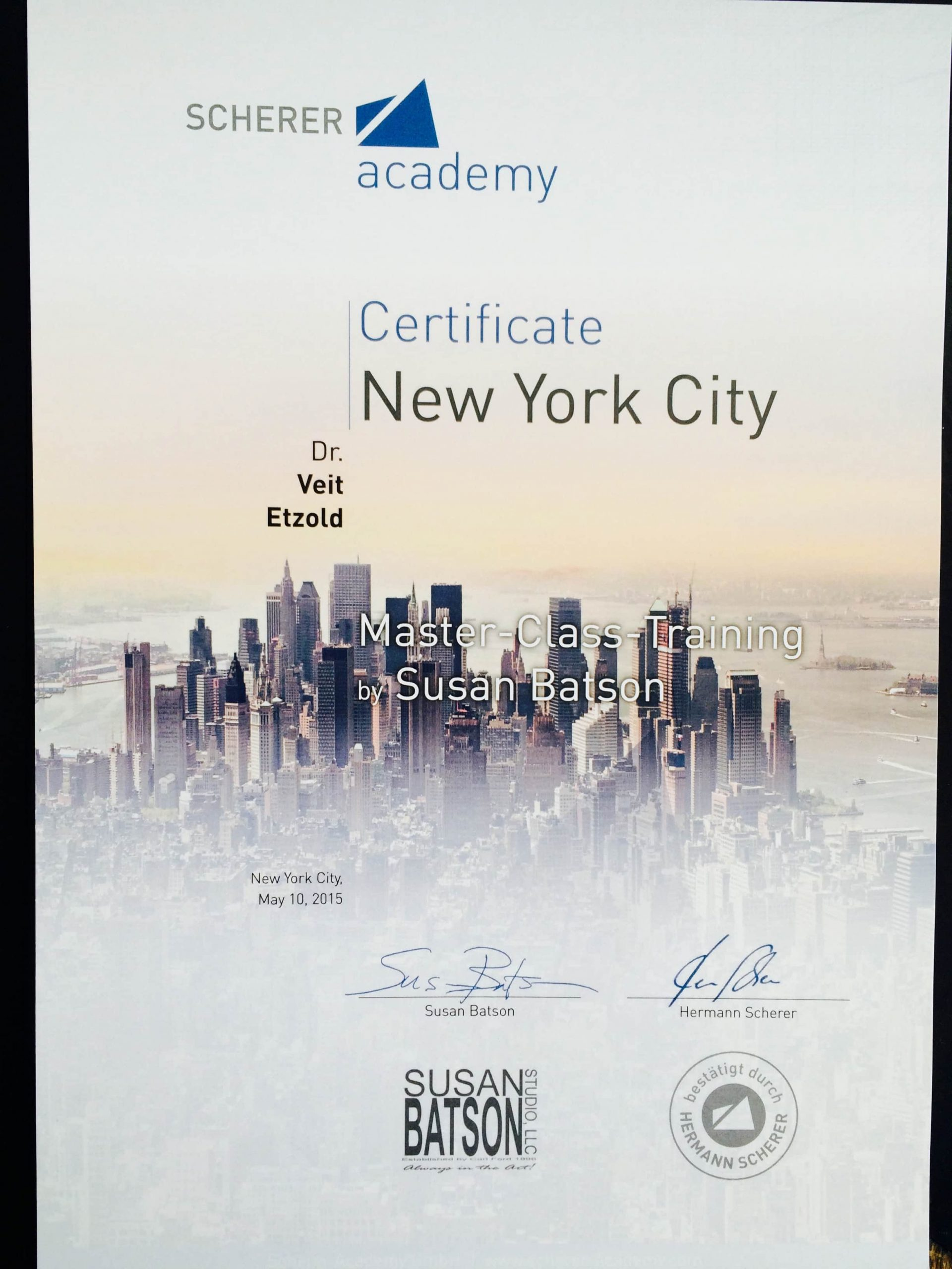 Certificates from Susan Batson and Lee Strasberg Institute