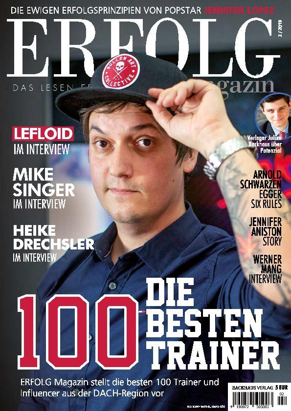 Auszeichnung als Nr 1. Influencer für Marketing / Vertrieb im Erfolg Magazin 02/2019