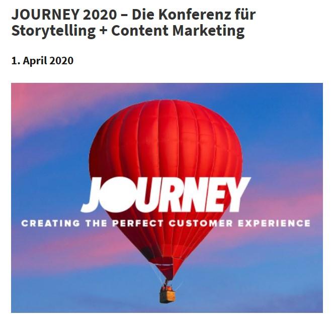 JOURNEY – Eröffnungs Keynote bei der Konferenz für Storytelling & Content Marketing