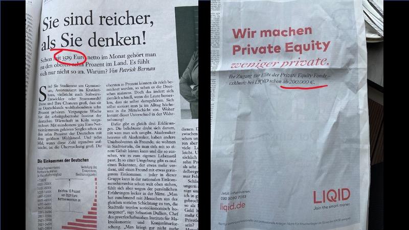 Schräge Werbeabstimmung: